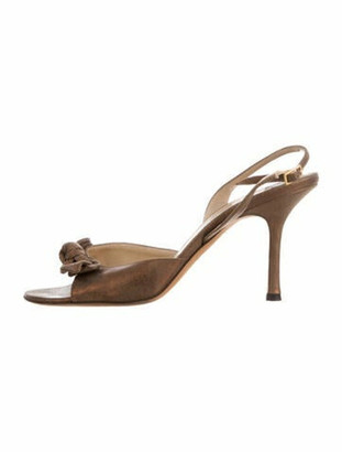 Jimmy Choo Suede Slingback Sandals Metallic