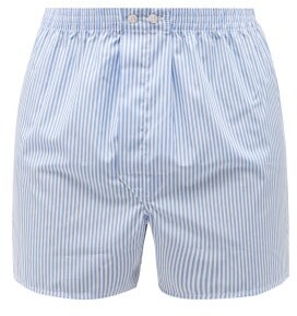 Derek Rose Candy-striped Cotton-poplin Boxer Shorts - Blue Multi