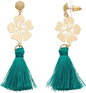 Lauren Conrad Teal Tassel Nickel Free Flower Drop Earrings