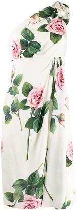 Dolce & Gabbana Tropical rose print one shoulder dress