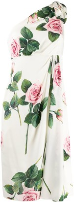 Dolce & Gabbana Tropical rose print one shoulder dress