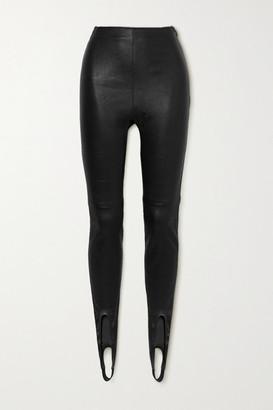 Saint Laurent Leather Stirrup Leggings - Black