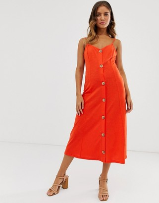 ASOS DESIGN midi slubby cami dress with faux wood buttons in red