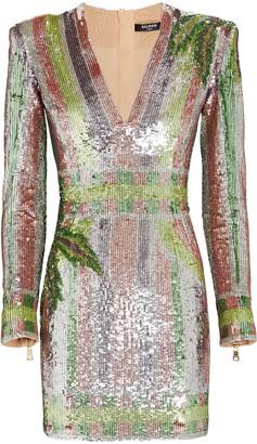 Balmain Striped Sequin Mini Dress