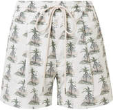 Bassike Printed Stretch Cotton-poplin Shorts - White