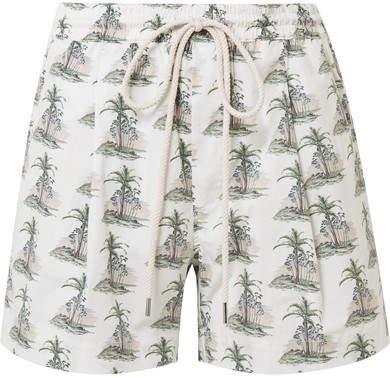 Bassike Printed Stretch Cotton-poplin Shorts - White