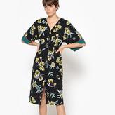 La Redoute Collections Floral Print Button Up Kimono Dress