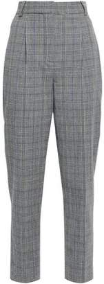 Rebecca Taylor Cropped Prince Of Wales Checked Stretch-crepe Tapered Pants