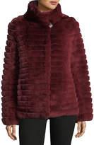 Gorski Reversible Down & Fur Belted Puffer Coat
