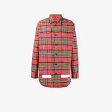 Off-White logo printed check shirt