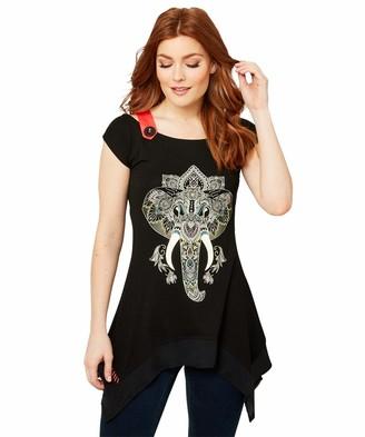Joe Browns Women's Boho Elephant Print Cold Shoulder T-Shirt