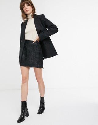 And other stories & jacquard pelmet mini skirt in black