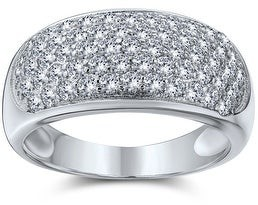 Bling Jewelry Wide Dome Pave AAA CZ Five Row Wedding Band Ring 925 Sterling Silver