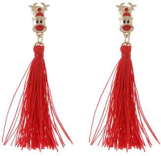 Design Studio Tassel Earrings Red Reindeer