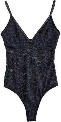 Cg Loves Lace & Leatherette Bodysuit - Black