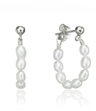 Lily & Roo Silver Seed Pearl Hoop Earrings