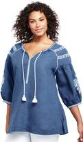 Lands'end Women's Plus Size Embroidered Linen Tunic