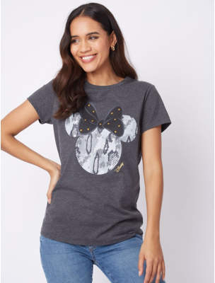 Disney George Minnie Mouse Charcoal Top