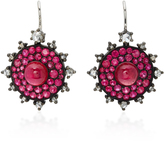 Nam Cho 18K White Gold Ruby and Diamond Earrings