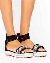 Missguided Embroidered Ankle Cuff Flatform Sandals