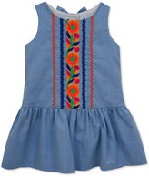 Rare Editions Floral Embroidery Cotton Dress, Toddler & Little Girls (2T-6X)