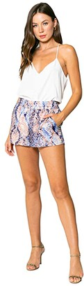 Lavender Brown Blue Snake Printed Pull-On Shorts (Blue/Taupe) Women's Shorts