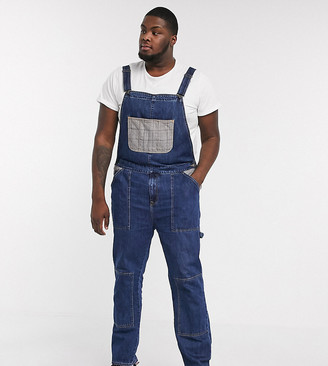 ASOS DESIGN Plus worker denim dungarees in dark wash blue with check pockets