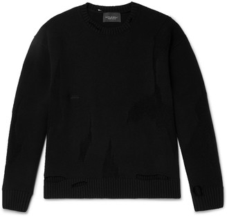 A-Cold-Wall* Oversized Logo-Embroidered Distressed Wool-Blend Sweater