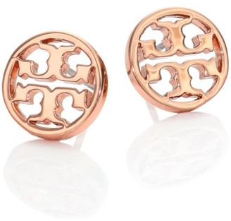 Tory Burch Logo Circle Stud Earrings/Rose Goldtone