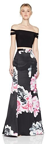 Thumbnail for your product : Blondie Nites Women's Long Two Piece offthe Shoulder Print