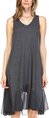 Melody Women's Tunics CHARCOAL - Charcoal Sheer-Contrast Sleeveless Scoop Neck Tunic Dress - Women