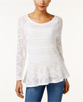Style&Co. Style & Co. Open-Knit Peplum Sweater, Only at Macy's