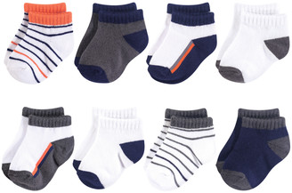 Yoga Sprout Boys' Socks Orange/Charcoal - Orange & Charcoal Eight-Pair No-Show Sock Set - Infant