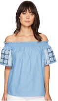 Romeo & Juliet Couture Off Shoulder Short Embroidered Sleeves Top