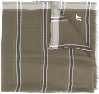 Salvatore Ferragamo Stripe Print Fringed Scarf