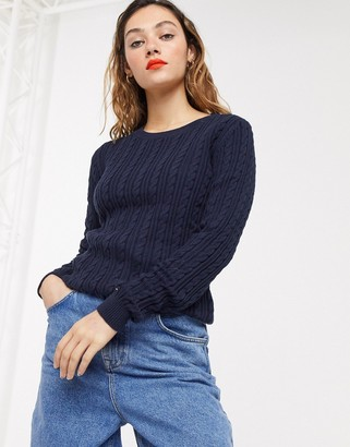 Tommy Hilfiger pascalino cable crew neck sweater in navy