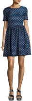 Kenzo Silk Jacquard Scalloped Check Dress, Blue