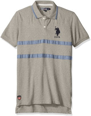 U.S. Polo Assn. Men's Quilted Pique and Chambray Striped Polo Shirt