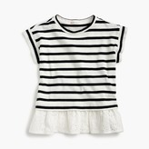 J.Crew Girls' striped T-shirt with eyelet ruffle