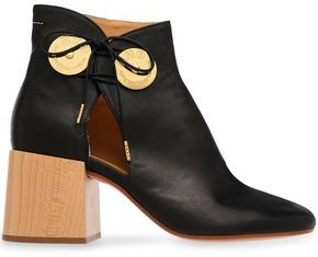 MM6 MAISON MARGIELA Cutout Embellished Leather Ankle Boots