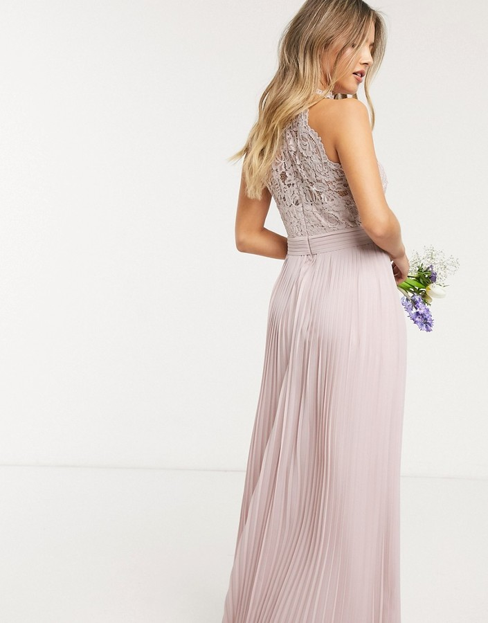 Thumbnail for your product : TFNC bridesmaid lace halterneck maxi dress in pink