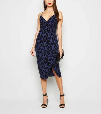 New Look Leopard Flocked Wrap Midi Dress