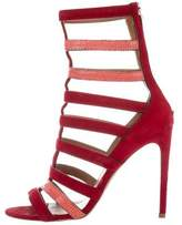 Alaia Stingray-Trimmed Cage Sandals