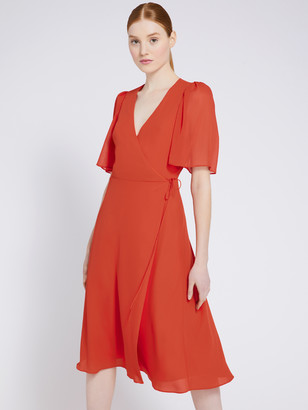 Alice + Olivia Suri Flutter Sleeve Midi Dress