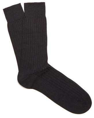Pantherella Hemingway Wool Blend Socks - Mens - Black