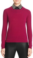 C by Bloomingdale's Embellished Collar Cashmere Sweater