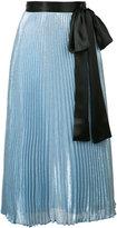 Christopher Kane metallic pleated tie waist midi skirt