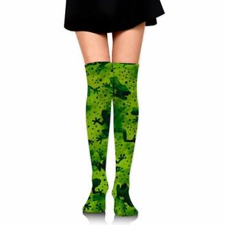 Wh Cla Calf Sock Frog Green Novelty Girls Thigh High Socks Over Knee Leg Warmers Womens Compression Socks Long Socks Cosplay Casual Dress Printed Outdoor Over Knee High Boot Sock