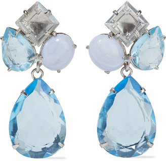 Bounkit Convertible Silver-tone, Lace Agate And Quartz Earrings
