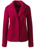 Classic Women's Petite Boucle Wool Jacket-Berry Red